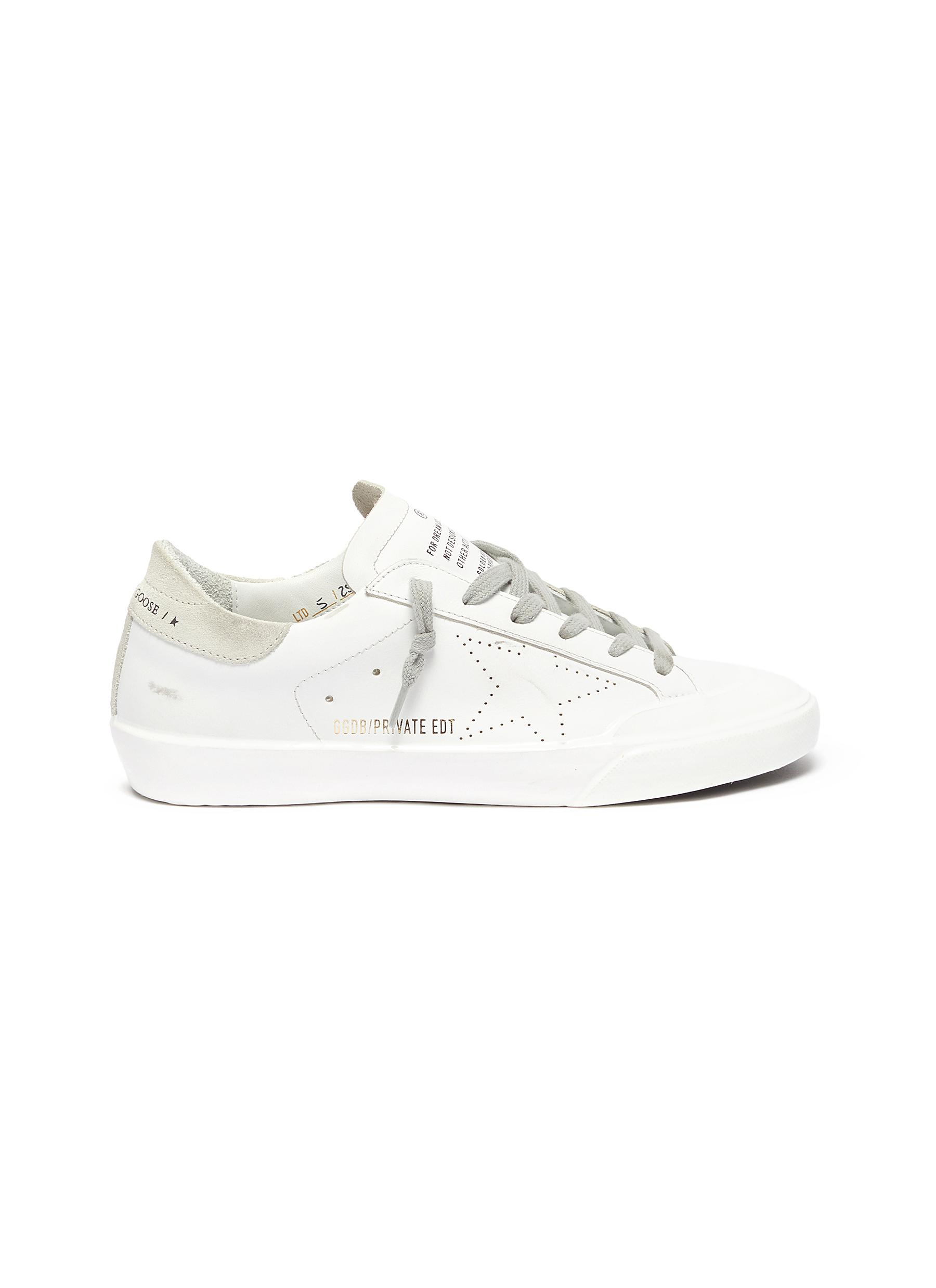 'Superstar' Perforated Star Motif Leather Sneakers