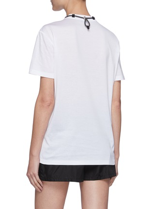 Back View - Click To Enlarge - PRADA - V-Neck T-Shirt With Detachable Pouch