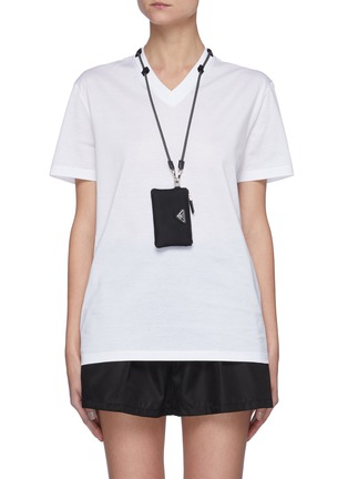 Main View - Click To Enlarge - PRADA - V-Neck T-Shirt With Detachable Pouch