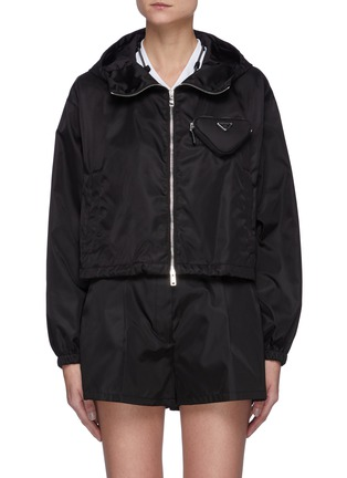 Main View - Click To Enlarge - PRADA - Cropped Windbreaker with Triangular Pouch