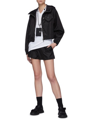 Figure View - Click To Enlarge - PRADA - Cropped Windbreaker with Triangular Pouch