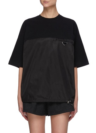 Main View - Click To Enlarge - PRADA - Oversize Re-Nylon Front Insert Tee
