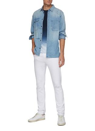 Figure View - Click To Enlarge - FRAME DENIM - 'L'Homme' Distress Detail Unwash Skinny Jeans