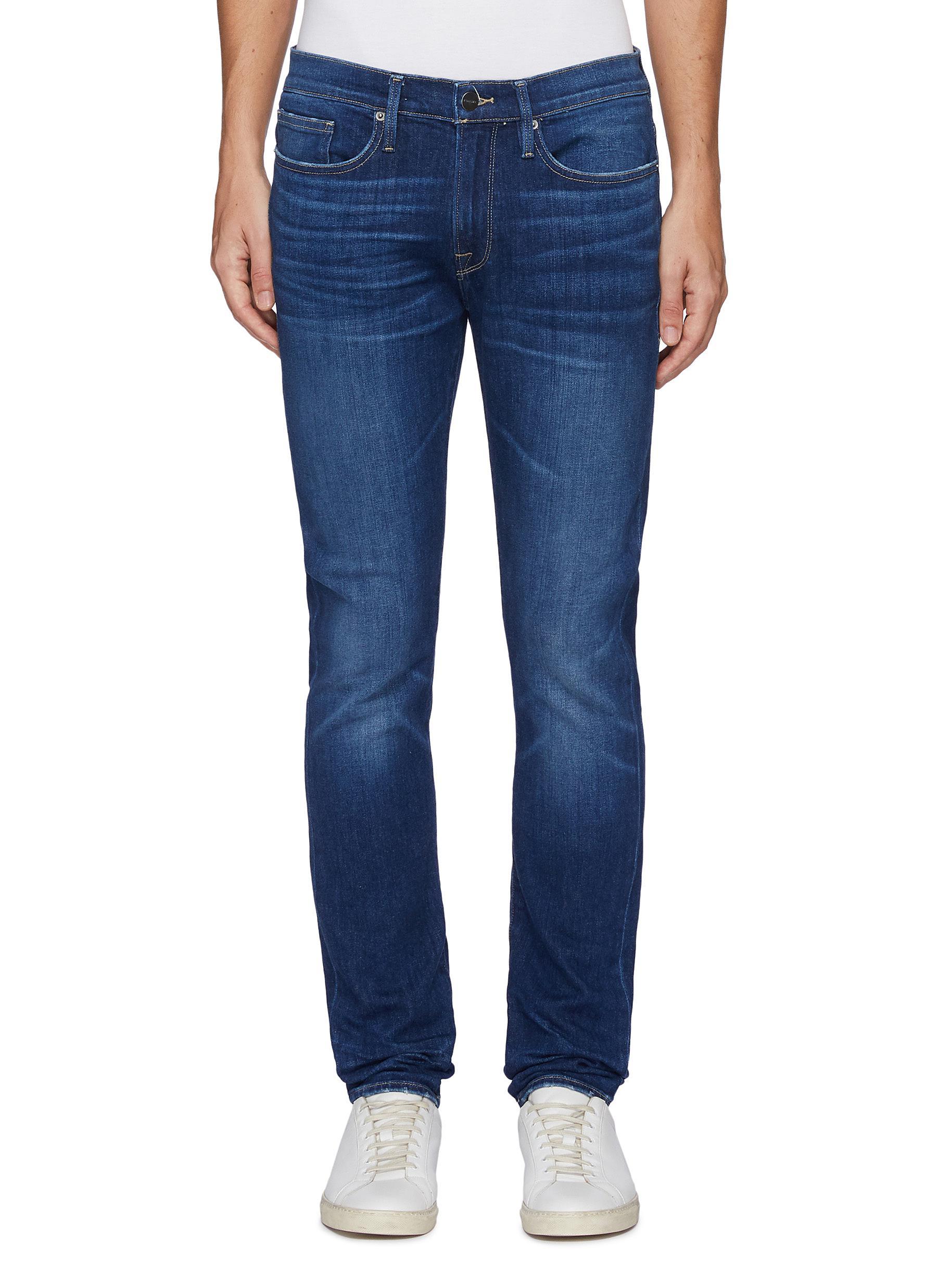 'L'Homme' skinny whiskered denim jeans