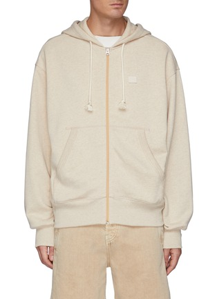 Main View - Click To Enlarge - ACNE STUDIOS - Face patch organic cotton zipped hoodie
