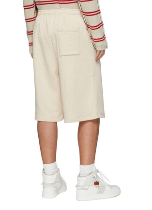 Back View - Click To Enlarge - ACNE STUDIOS - Face Patch Drawstring Waist Cotton Sweatshorts
