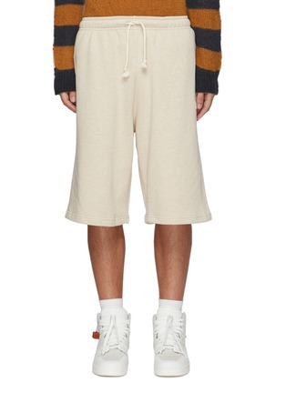 Main View - Click To Enlarge - ACNE STUDIOS - Face Patch Drawstring Waist Cotton Sweatshorts