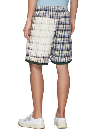 Back View - Click To Enlarge - ACNE STUDIOS - Face Patch Bleach Detail Plaid Cotton Basketball Shorts