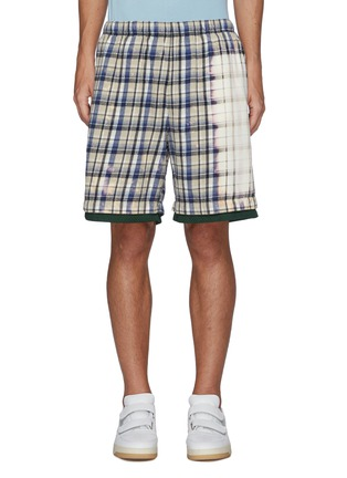 Main View - Click To Enlarge - ACNE STUDIOS - Face Patch Bleach Detail Plaid Cotton Basketball Shorts