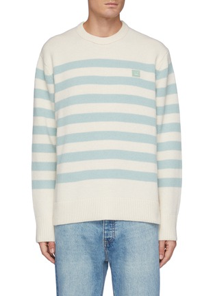 Main View - Click To Enlarge - ACNE STUDIOS - Face Logo Embroidered Striped Wool Sweater