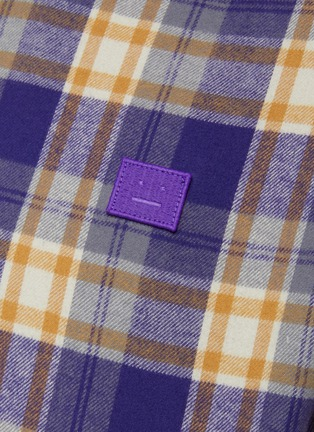 - ACNE STUDIOS - Face Logo Embroidered Patch Plaid Flannel Shirt
