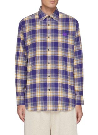 Main View - Click To Enlarge - ACNE STUDIOS - Face Logo Embroidered Patch Plaid Flannel Shirt