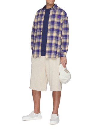 Figure View - Click To Enlarge - ACNE STUDIOS - Face Logo Embroidered Patch Plaid Flannel Shirt