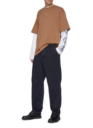 Figure View - Click To Enlarge - ACNE STUDIOS - Contrast Pocket Insert Face Logo Patch Cotton Twill Pants