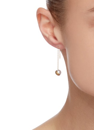 Figure View - Click To Enlarge - SHIHARA - Half pearl' 18k gold chain drop earring