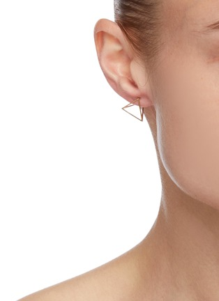 Figure View - Click To Enlarge - SHIHARA - 3D' 18k gold triangle single earring