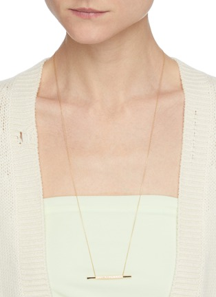Figure View - Click To Enlarge - SHIHARA - Diamond 18k gold bar pendant necklace