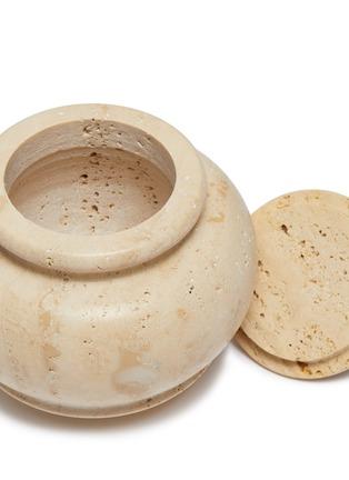 Detail View - Click To Enlarge - LORENZO VILLORESI - Tavertine Marble Jar — 17cm