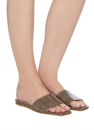 Figure View - Click To Enlarge - AEYDE - 'Anna' Single Band Snake Embossed Leather Sandals