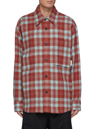 Main View - Click To Enlarge - SOLID HOMME - Multi-colour Check Shirt Jacket