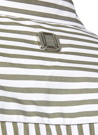 - SOLID HOMME - Striped Half Placket Open Collar Shirt