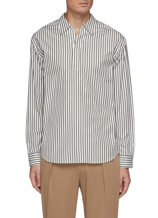 Main View - Click To Enlarge - SOLID HOMME - Striped Half Placket Open Collar Shirt