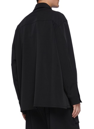 Back View - Click To Enlarge - SOLID HOMME - Plain Zip Detail Pocket Shirt