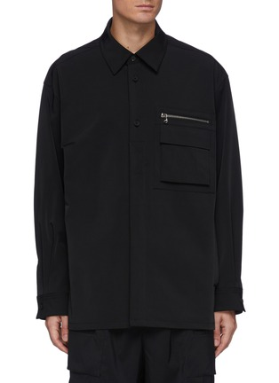 Main View - Click To Enlarge - SOLID HOMME - Plain Zip Detail Pocket Shirt