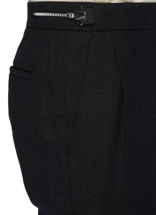 - SOLID HOMME - Fleece Wool Tapered Waist Zip Detail Classic Trouser