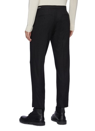Back View - Click To Enlarge - SOLID HOMME - Fleece Wool Tapered Waist Zip Detail Classic Trouser