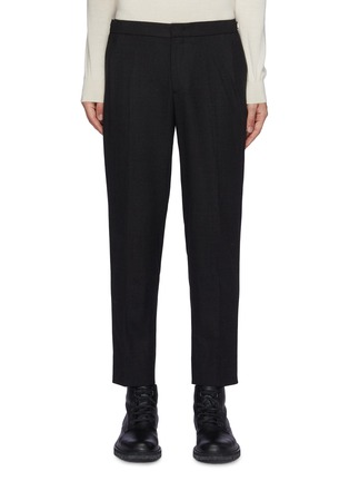 Main View - Click To Enlarge - SOLID HOMME - Fleece Wool Tapered Waist Zip Detail Classic Trouser
