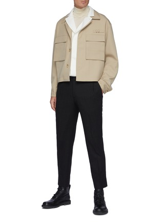 Figure View - Click To Enlarge - SOLID HOMME - Fleece Wool Tapered Waist Zip Detail Classic Trouser