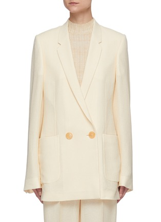 Main View - Click To Enlarge - PETAR PETROV - 'Ines' basket weave silk blend blazer