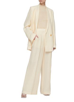 Figure View - Click To Enlarge - PETAR PETROV - 'Ines' basket weave silk blend blazer