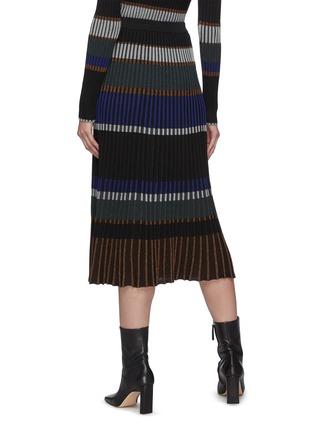 Back View - Click To Enlarge - PROENZA SCHOULER - Horizontal Stripe Pleated Rib Knit Midi Skirt