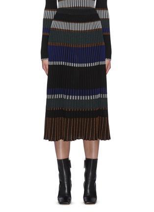 Main View - Click To Enlarge - PROENZA SCHOULER - Horizontal Stripe Pleated Rib Knit Midi Skirt