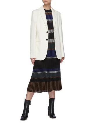 Figure View - Click To Enlarge - PROENZA SCHOULER - Horizontal Stripe Pleated Rib Knit Midi Skirt