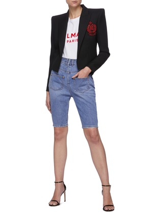 Figure View - Click To Enlarge - BALMAIN - Monogram embroidered patch crop blazer