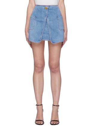 Main View - Click To Enlarge - BALMAIN - Wrap denim mini skirt