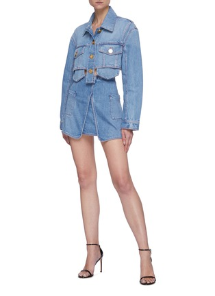 Figure View - Click To Enlarge - BALMAIN - Wrap denim mini skirt