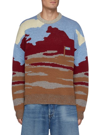 Main View - Click To Enlarge - ACNE STUDIOS - Krover Lambswool Crew Neck Golf Course Jacquard Jumper