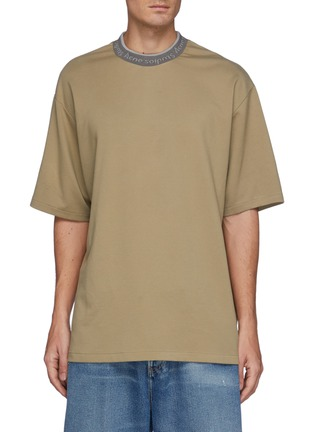 Main View - Click To Enlarge - ACNE STUDIOS - Extor Reverse Logo Rib Collar Relaxed Fit Tee
