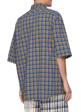 Back View - Click To Enlarge - ACNE STUDIOS - Logo Embroidered Oversized Check Shirt