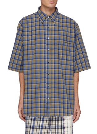Main View - Click To Enlarge - ACNE STUDIOS - Logo Embroidered Oversized Check Shirt