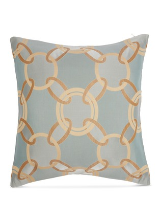 Main View - Click To Enlarge - FRETTE - Chains Cushion — Turquiose/Camel