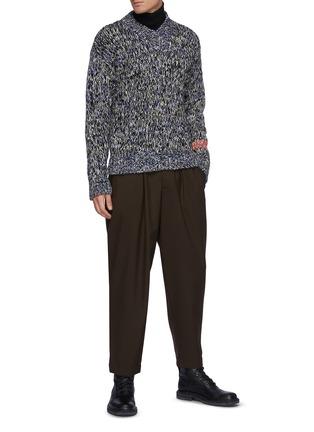 Figure View - Click To Enlarge - JIL SANDER - Melange Knit V-Neck Sweater