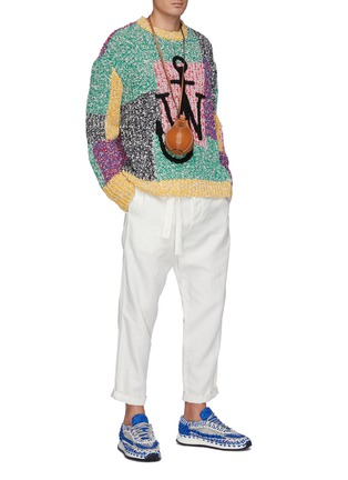 Figure View - Click To Enlarge - JW ANDERSON - Anchor logo patchwork sweater