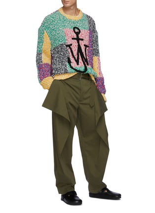 Figure View - Click To Enlarge - JW ANDERSON - Extra Fabric On Side Geometric Draped Trousers