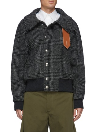 Main View - Click To Enlarge - JW ANDERSON - Contrasting Neck Fastening Ruched Sleeve Bomber