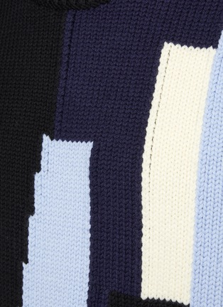 - NEIL BARRETT - Abstract Colour Blocking Chunky Wool Knit Sweater